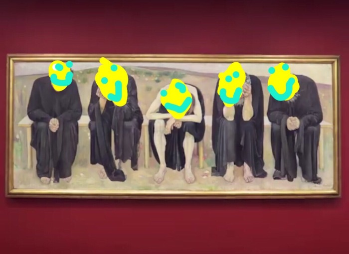 Image: The Disappointed Souls by Ferdinand Hodler, 1892, with smiley faces added by @rina_espiritu